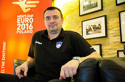 Uros Serbec, assistant coach of Slovenia posing on Day 5 of Men's EHF EURO 2016, on January 19, 2016 in Mercure Hotel Wroclaw, Poland. Photo by Vid Ponikvar / Sportida
