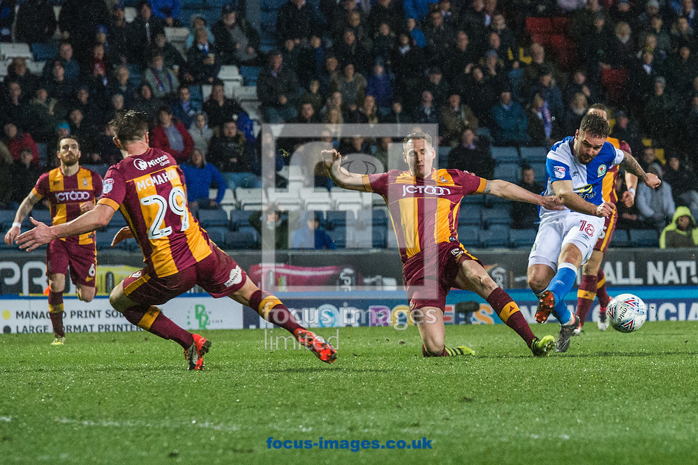 Matthew Kilgallon of Bradford City blocks an effort from Adam Armstrong of Blackburn Rovers during the Sky Bet League 1 match at Ewood Park, Blackburn<br /> Picture by Matt Wilkinson/Focus Images Ltd 07814 960751<br /> 29/03/2018