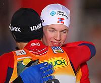 Kombinert<br /> Kuusamo Finland<br /> 25.11.2011<br /> Foto: Gepa/Digitalsport<br /> NORWAY ONLY<br /> <br /> FIS Weltcup,  Nordic Opening, 10km der Herren. Bild zeigt Magnus Moan und Magnus Krog (NOR).