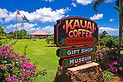 Sign and visitor center at the Kauai Coffee Company. Island of Kauai, Hawaii