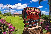 Sign and visitor center at the Kauai Coffee Company. Island of Kauai, Hawaii