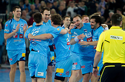 Nenad Bilbija, Dragan Gajic, Jure Natek, Peter Pucelj and David Spiler of Slovenia celebrate after winning the handball match between National teams of Slovenia and Poland of Qualification Group 3 for Men's EURO 2012, on March 9, 2011 in Arena Stozice, Ljubljana, Slovenia. Slovenia defeated Poland 30-28. (Photo By Vid Ponikvar / Sportida.com)