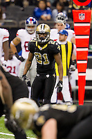 28 November 2011: Cornerback (21) Patrick Robinson of the New Orleans Saints lines up against the New York Giants during the second half of the Saints 49-24 victory over the Giants at the Mercedes-Benz Superdome in New Orleans, LA.