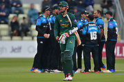 Alex Hales out LBW to Joe Leach (not shown) for 13 during the Royal London 1 Day Cup match between Worcestershire County Cricket Club and Nottinghamshire County Cricket Club at New Road, Worcester, United Kingdom on 27 April 2017. Photo by Simon Trafford.