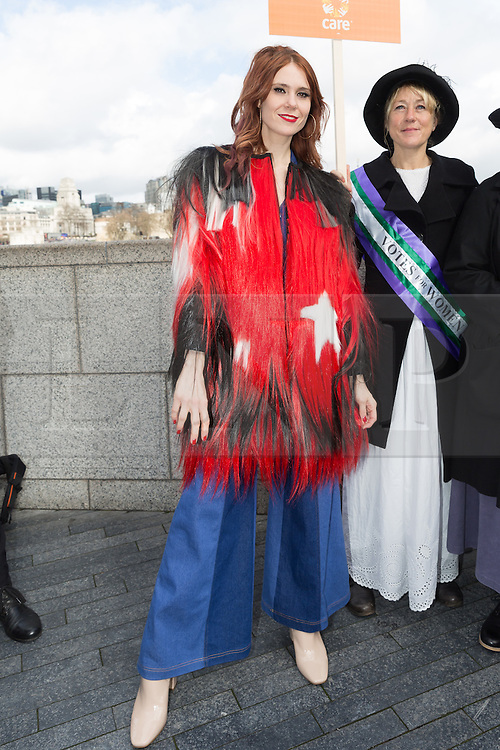 © Licensed to London News Pictures. 05/03/2017. LONDON, UK.  Kate Nash joins feminist activists take part in the March4Women, organised by CARE International to mark International Women's Day. The Women's Day March begins at The Scoop near City Hall, before proceeding over Tower Bridge and finishing at the Tower of London. Photo credit: Vickie Flores/LNP