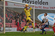 Adam Davies (Barnsley) makes a save during the Sky Bet League 1 match between Barnsley and Bury at Oakwell, Barnsley, England on 7 February 2016. Photo by Mark Doherty.
