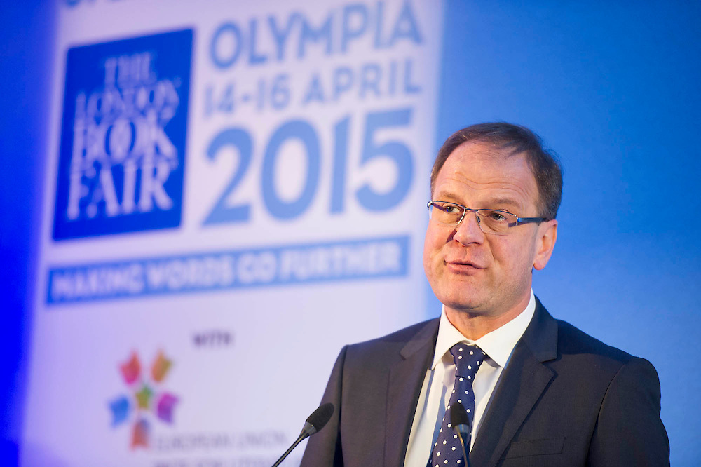 Tibor Navracsis, European Commissioner for Education and Culture announces the winners of the EU literature prize - London Book Fair, Olympia, London, UK, 14 Apr 2015.