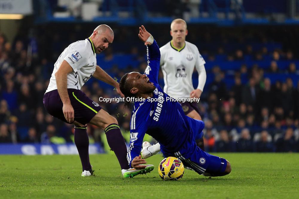 11 February 2015 - Barclays Premier League - Chelsea v Everton - Didier Drogba of Chelsea goes down dramatically after a challenge from Darron Gibson of Everton  - Photo: Marc Atkins / Offside.