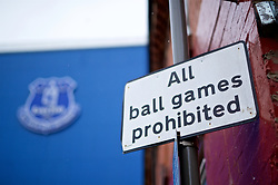 """LIVERPOOL, ENGLAND - Sunday, March 3, 2019: A sign saying """"All ball games prohibited