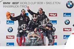 17.12.2017, Olympia Eisbahn, Igls, AUT, BMW IBSF Weltcup und EM, Igls, Viererbob, 1. Lauf, im Bild Benjamin Maier, Kilian Walch, Markus Sammer, Danut Ion Moldovan (AUT) // Pilot Benjamin Maier with Kilian Walch Markus Sammer Danut Ion Moldovan of Austria during 1st run of four-man Bobsleigh competition of BMW IBSF World Cup and European Championship at the Olympia Eisbahn in Igls, Austria on 2017/12/17. EXPA Pictures © 2017, PhotoCredit: EXPA/ Johann Groder