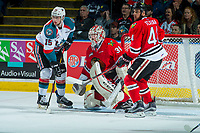 KELOWNA, CANADA - APRIL 7: Tomas Soustal #15 of the Kelowna Rockets looks for the pass in front of Cole Kehler #31 of the Portland Winterhawkson April 7, 2017 at Prospera Place in Kelowna, British Columbia, Canada.  (Photo by Marissa Baecker/Shoot the Breeze)  *** Local Caption ***