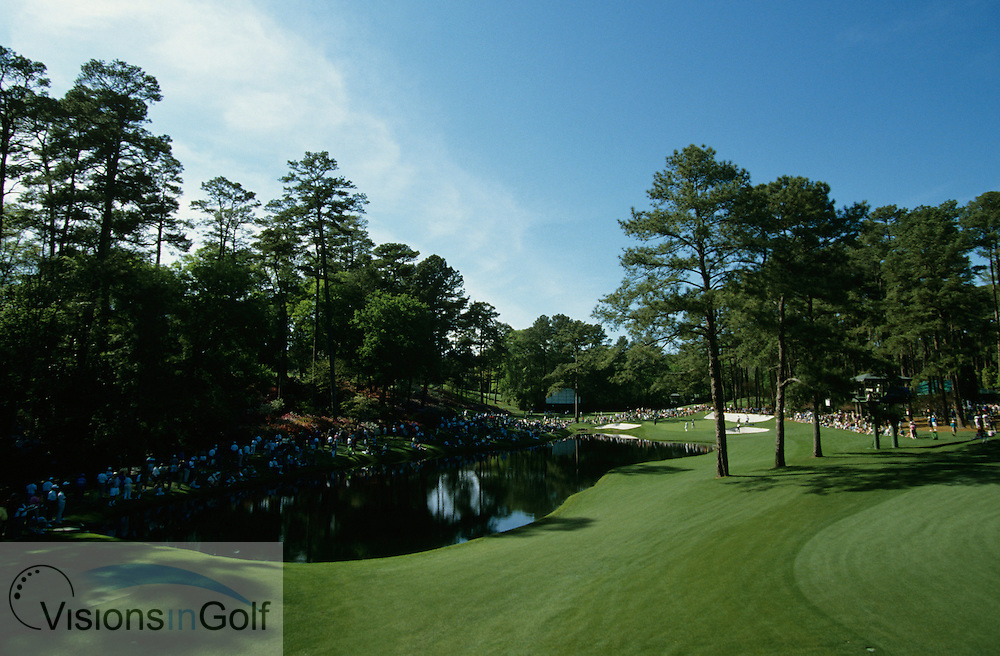 16th hole par 3 over the water and the edge of the 15th green on the right , photographed on practice day<br /> 940406 / AUGUSTA NATIONAL GC, Georgia USA / PHOTO MARK NEWCOMBE / THE MASTERS