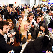 """February 16, 2016 - New York, NY : """"Jackson"""" (Avatar's Smooth Criminal), a Burnese Mountain Dog, attracts a crowd backstage at the 140th Annual Westminster Kennel Club Dog Show at Madison Square Garden in Manhattan on Tuesday evening, February 16, 2016. CREDIT: Karsten Moran for The New York Times"""