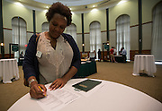 Nicole Williams fills out the final survey from the Ohio Gaurantee event on Wednesday in Walter Hall rotunda. Photo by Katelyn Vancouver