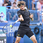 ALEXANDER ZVEREV hits a forehand during his second round match at the Citi Open at the Rock Creek Park Tennis Center in Washington, D.C.