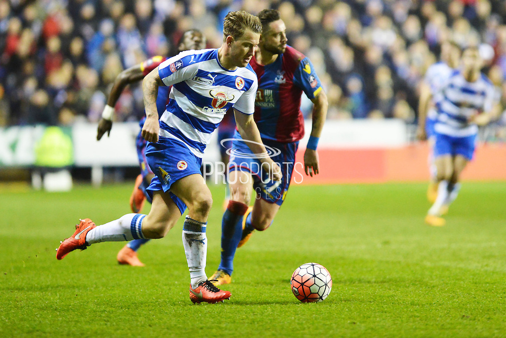 Reading FC striker Simon Cox on the ball during the The FA Cup Quarter Final match between Reading and Crystal Palace at the Madejski Stadium, Reading, England on 11 March 2016. Photo by Mark Davies.