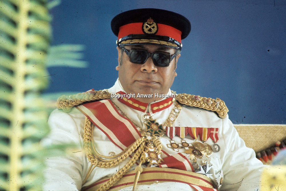 Tonga prepares for the death of its 88 year old King Taufa'ahau Tupou lV who has ruled over one of the world's last feudal monarchies for 41 years. Picture shows the King during Queen Elizabeth ll's visit to Tonga in February 1977....