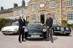 Hatfields Jaguar Ride and Drive event at the Cavendish Hotel Baslow Derbyshire Andrew Jeffery and his son Matt and Left to right E Type, Modern XK and an original XK..5th May 2011.Images © Paul David Drabble