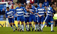 Photo: Richard Lane.<br /> Reading v Sheffield United. Nationwide Division One. 28/02/2004<br /> Reading celebtae Nicky Shorey's gaol.