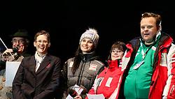 10.01.2016, Schladming, AUT, Special Olympics Pre-Games in Graz-Schladming-Ramsau, Eröffnungsfeier im WM-Park Planai, im Bild von links Moderator Sepp Reich, Global Messenger Johanna Pramstaller, Anna Fenninger und Athleten // during the opening ceremony of the Special Olympics Pre-Games in Schladming, Austria on 2016/01/10. EXPA Pictures © 2016, PhotoCredit: EXPA / Martin Huber