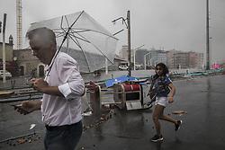 July 27, 2017 - Ankara, Türkiye - Heavy rain hit Istanbul. People had to run in the flooded streets of Taksim Square, Istanbul. (Credit Image: © Depo Photos via ZUMA Wire)