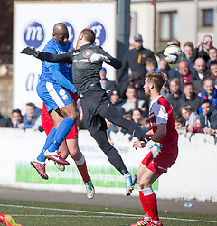 Montrose Marvin Andrews scoring their second goal. <br /> Montrose 3 v 1 Brora Rangers, Scottish League Two play-off second leg, today at Links Park, Montrose.