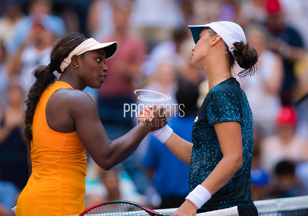 Sloane Stephens of the United States and Anhelina Kalinina of the Ukraine at the net after their second-round match at the 2018 US Open Grand Slam tennis tournament, at Billie Jean King National Tennis Center in Flushing Meadow, New York, USA, August 29th 2018, Photo Rob Prange / SpainProSportsImages / DPPI / ProSportsImages / DPPI