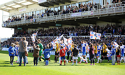The teams come out - Photo mandatory by-line: Neil Brookman/JMP - Mobile: 07966 386802 - 11/04/2015 - SPORT - Football - Bristol - Memorial Stadium - Bristol Rovers v Southport - Vanarama Football Conference