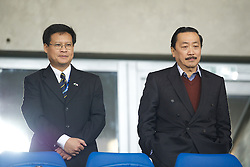 CARDIFF, WALES - Tuesday, January 24, 2012: Cardiff City's owner Tan Sri Vincent Tan Chee Yioun (L) and Chairman Datuk Chan Tien Ghee during the Football League Cup Semi-Final 2nd Leg against Crystal Palace at the Cardiff City Stadium. (Pic by David Rawcliffe/Propaganda)