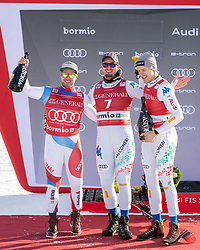28.12.2018, Stelvio, Bormio, ITA, FIS Weltcup Ski Alpin, Abfahrt, Herren, Siegerehrung, im Bild v.l. Beat Feuz (SUI, 3. Platz), Dominik Paris (ITA, 1. Platz), Christof Innerhofer (ITA, 2. Platz) // f.l. third placed Beat Feuz of Switzerland race winner Dominik Paris of Italy second placed Christof Innerhofer of Italy during the winner Ceremony for the men's Downhill of FIS Ski Alpine World Cup at the Stelvio in Bormio, Italy on 2018/12/28. EXPA Pictures © 2018, PhotoCredit: EXPA/ Johann Groder