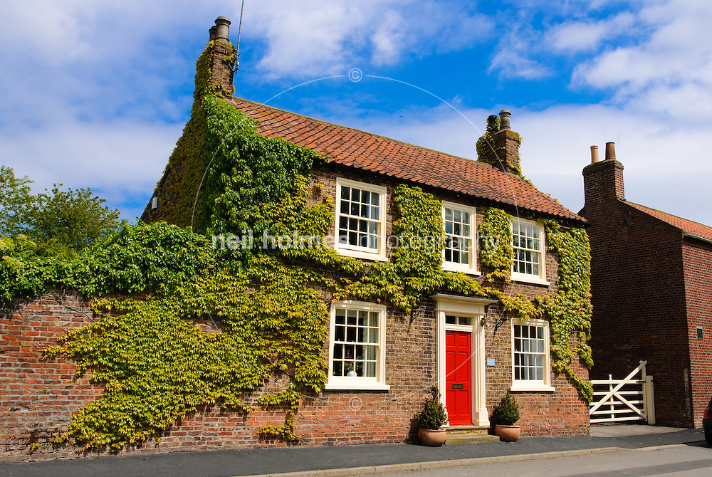 Lockington Village, East Yorkshire. Ivy covered house on Front Street.