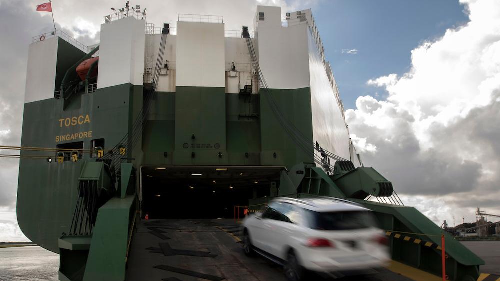 RORO vessels sailing upriver/down river to Colonel's Island under the Sydney Lanier Bridge at the Georgia Ports Authority Port of Brunswick, Saturday, Aug. 17 2015, in Brunswick, Ga.  (GPA Photo/Stephen B. Morton)
