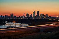 Calgary Skyline, Bow River & Deerfoot Trail Highway @ Sunset