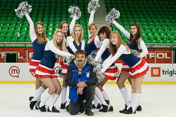 Zdene, zamboni driver, and cheerleaders Ice Ladies after ice-hockey match between Slovenia and France in Slovenia Euro ice hockey challenge, on December 17, 2011 at Hala Tivoli, Ljubljana, Slovenia. France defeated Slovenia 6:5 after penalty shots. (Photo By Matic Klansek Velej / Sportida)