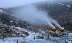 As the first cold snap sweeps down across Scotland the snow level has already reached the main car park at the Cairngorm ski centre. It is now also cold enough for the snow making machines to operate......... (c) Stephen Lawson | Edinburgh Elite media