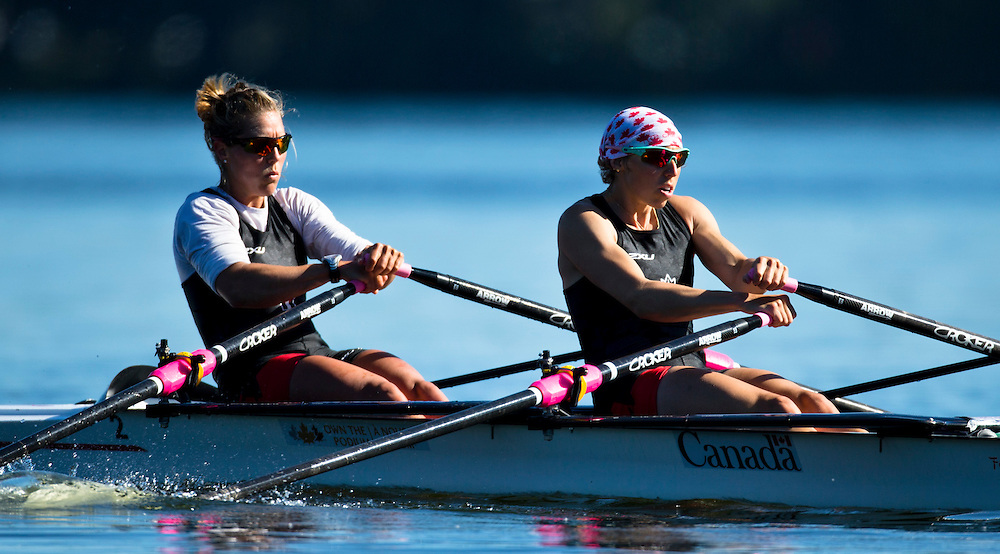 Lindsay Jennerich (bow) and Patricia Obee (stroke) train at Elk Lake in Victoria B.C. Canada.