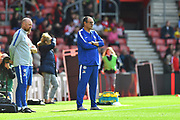 Chelsea manager Maurizio Sarri watching the players warm up before the Premier League match between Southampton and Chelsea at the St Mary's Stadium, Southampton, England on 7 October 2018.