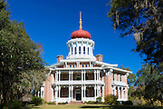 Longwood 19th Century antebellum plantation mansion house with Byzantine dome roof, live oak with moss, Natchez, Mississippi USA
