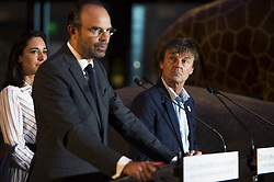 French Prime Minister Edouard Philippe and French Minister for the Ecological and Inclusive Transition Nicolas Hulot deliver thier speeches at the biodiversity conference at Museum national d'Histoire naturelle in Paris on July 4, 2018. Photo by Eliot Blondet/ABACAPRESS.COM