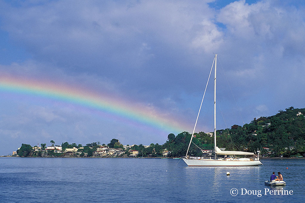 rainbow over Rousseau, Dominica, West Indies ( Caribbean )