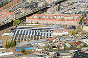 Nederland, Noord-Holland, Amsterdam, 09-04-2014; omgeving Haarlemmermeerstation met Remise Havenstraat, water van de Schinkel en Zijlbrug.<br /> Tram depot, Amsterdam west.<br /> luchtfoto (toeslag op standard tarieven);<br /> aerial photo (additional fee required);<br /> copyright foto/photo Siebe Swart