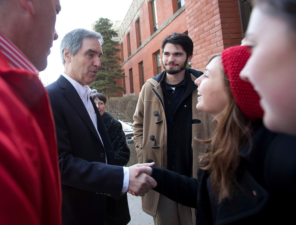 London, ONT.; April 1, 2011--  Liberal leader Michael Ignatieff greets high school students during a campaign stop in London, Ontario, April 1, 2011.<br /> <br /> (GEOFF ROBINS/ Postmedia News)