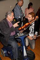 Itzhak Perlman and David Garrett visit the studios of SiriusXM Satellite Radio in New York on June 6, 2012..Photo Credit ; Rahav Iggy Segev / Photopass.com
