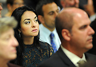 Finalist Mimma-Marie Cammarata listens to the Teacher of the Year presentation Wednesday, October 04, 2017 at the New Jersey Department of Education in Trenton, New Jersey. (WILLIAM THOMAS CAIN / For The Philadelphia Inquirer)