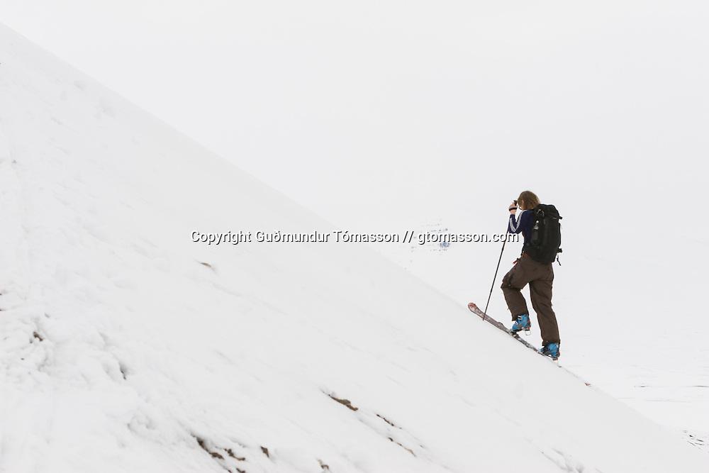 Helga Björt Möller ascending mt. Lambárhnjúkur 1027m. Hvalvatnsfjörður, Iceland.