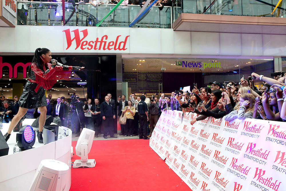 Job Ref: The Opening of Westfield Stratford City, Stratford, East London..Nicole Scherzinger helps celebrate the opening.. .13th September 2011.Andrew Baker Photographer.07977074356