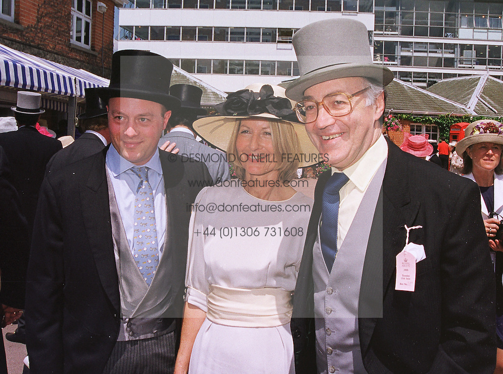 Left to right, MR SHOLTO DOUGLAS-HOME, his mother and stepfather MR & MRS MICHAEL HOWARD MP, at Royal Ascot on 15th June 1999.MTG 8