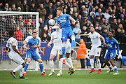 Peterborough Utd midfielder Ben White (6) gets in a header during the EFL Sky Bet League 1 match between Peterborough United and Coventry City at London Road, Peterborough, England on 16 March 2019.