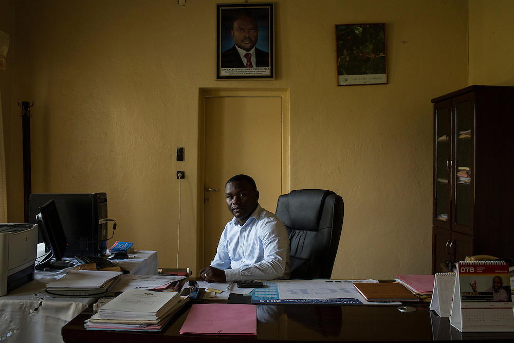 Denis Karera, chairman of the Imbonerakure, a youth wing of the ruling party and general director of Arfic Coffee, poses in is office in the capital Bujumbura in Burundi. (For Der Spiegel)<br /> .