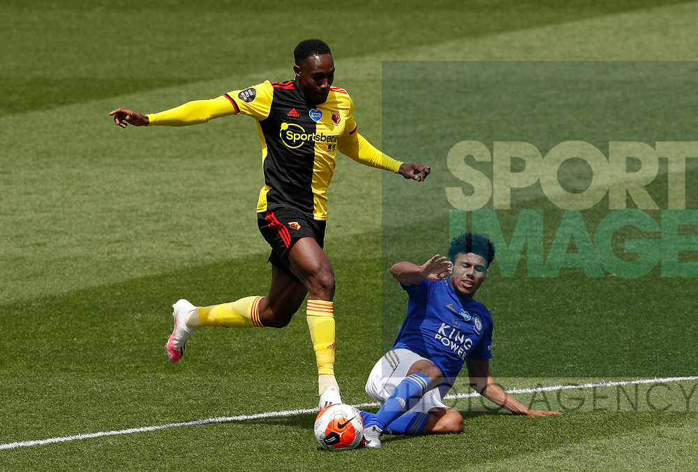 Danny Welbeck of Watford  tackled by James Justin of Leicester City during the Premier League match at Vicarage Road, Watford. Picture date: 20th June 2020. Picture credit should read: Darren Staples/Sportimage